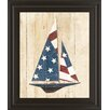 Classy Art Wholesalers American Flag Sailboat by Avery Tillmon Framed Graphic Art