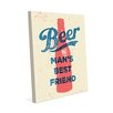 Click Wall Art Beer Man's Best Friend Graphic Art on Wrapped Canvas in Red and Blue