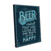 Click Wall Art Beer Is Proof That God Loves Us Textual Art on Wrapped Canvas in Dark Blue