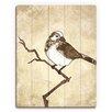 Click Wall Art 'Little Birdie Mocha' Painting Print on Plaque