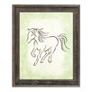 Click Wall Art 'Gestural Horse Canter Honeydew' Framed Painting Print