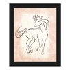 Click Wall Art 'Gestural Horse Trot Rose' Framed Painting Print