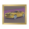 Click Wall Art 'Yellow Sports Car on Mauve' Framed Graphic Art