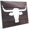 Click Wall Art 'Longhorns on Wood' Painting Print