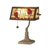 """Dale Tiffany Henderson Bankers 14"""" H Table Lamp with Rectangular Shade"""