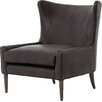 Design Tree Home Leather Brown Marlow Wingback Chair
