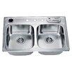 "Dawn USA 33"" x 22"" Top Mount Equal Double Bowl Kitchen Sink"