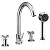 Dawn USA Double Handle Deck Mount Tub Filler Trim with Personal Hand Shower