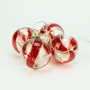 Penn Distributing 4 Piece Battery Operated Red and Gold Swirl Glass Ball LED Lighted Christmas Ornament Set