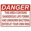 Signs 2 All Schild Danger This Area Contains Dangerous Life Forms, typografische Kunst
