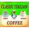 """Signs 2 All Schild """"Classic Italian Coffee Cappuccino Espresso Latte"""", Retro-Werbung"""