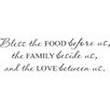Belvedere Designs LLC Bless Food Family Love Wall Decal