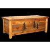 Utah Mountain Barnwood Blanket Chest with Round Legs and Carvings