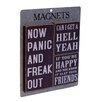 American Mercantile 3 Piece Wood Magnets 'Now Panic' Wall Decor Set