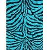 Persian-rugs Tobis Modern Shag Zebra Turquoise Area Rug