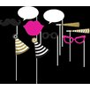 Creative Converting Black and Gold Photo Booth Props (Set of 10)