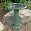 Fiber Clay Birdbath - Color: Green - Tierra Garden Bird Baths