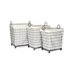 Moycor 3 Piece Fabric / Metal Small Square Basket