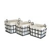 Moycor 3 Piece Fabric / Metal Big Square Basket