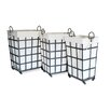 Moycor 3 Piece Fabric / Metal Big Square Basket