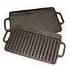 "Victoria 12.5"" x 7.6"" Preseasoned Cast Iron Reversible Griddle"