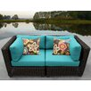 TK Classics Venice 2 Piece Outdoor Wicker Patio Lounge Seating Group with Cushion