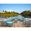 TK Classics Florence Outdoor Wicker 17 Piece Deep Seating Group with Cushion