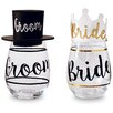 Mud Pie™ Wedding 4 Piece Bride and Groom Wine Glass and Hat Set