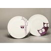 MarlaDawn Owls Dessert 4 Piece Plate Set (Set of 4)