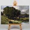 Big Box Art Daubigny Woman Standing Near a Pond by Charles-Francois Art Print on Canvas