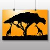 Big Box Art Giraffe Silhouette at Sunset Graphic Art on Canvas