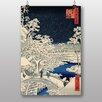 """Big Box Art Poster """"Japanese Oriental Bridge at Meguro"""" von Hiroshige, Kunstdruck"""