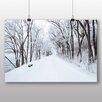 Big Box Art Poster Snowy Tree Lined Road, Fotodruck