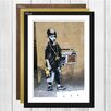 Big Box Art 'Kid with Ghetto Blaster Graffiti' by Banksy Framed Photographic Print