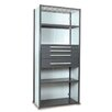 """Equipto V-Grip 84"""" Shelving with Drawers Unit - 4Drw/5Shelf Closed Starter,  4 drawers - (2) 3"""", 4.5"""" & 7.5"""" H; 200 lb capacity"""