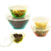 Imperial Home 10-Piece Stackable Wave Design Glass Storage Bowl Set