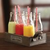 Circle Glass Country 13 Piece Milk Bottles Straws and Tray Set