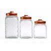 Circle Glass 3 Piece Copper Relic Embossed Canister Set with Copper Lid