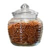 Circle Glass Ribbed Canister with Glass Lid