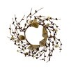 Shea's Wildflowers Button Burlap and Berry Candle Ring Wreath