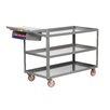 "Little Giant USA 18"" x 48"" 3-Shelf Utility Cart with Writing Shelf and Storage Pocket"