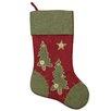 Northlight Seasonal Christmas Tree Stocking with Blanket Stitching Trim