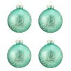 Northlight Seasonal Flower Design Glass Ball Christmas Ornament (Set of 4)