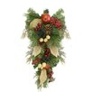 Northlight Seasonal Autumn Harvest Mixed Pine Berry and Nut Thanksgiving Fall Teardrop Swag with Unlit