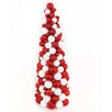 Northlight Seasonal Candy Cane Shatterproof Christmas Ball Ornament Table Top Cone Tree