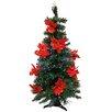 Northlight Seasonal 3' Pre-Lit Fiber Optic Artificial Christmas Tree with Red Poinsettias