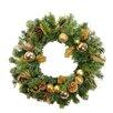 "Northlight Seasonal 24"" Artificial Pine Cone Apple and Ball Ornament Christmas Wreath"