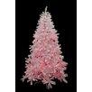 Northlight Seasonal 7.5' White Cedar Pine Artificial Christmas Tree with Pink Light