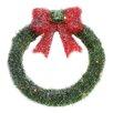 "Northlight Seasonal 16"" Lighted Tinsel with Bow Christmas Wreath"