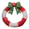 Northlight Seasonal Lighted Tinsel Wreath with Bow Christmas Window Decoration
